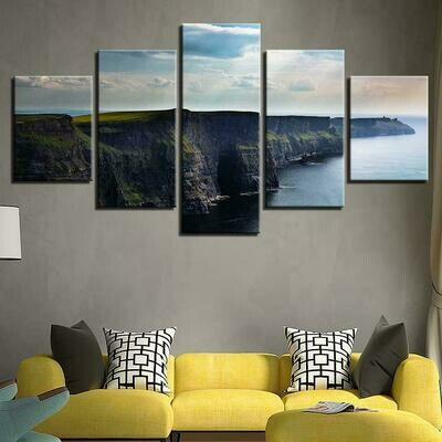 Blue Sky And Mountain - 5 Panel Canvas Print Wall Art Set