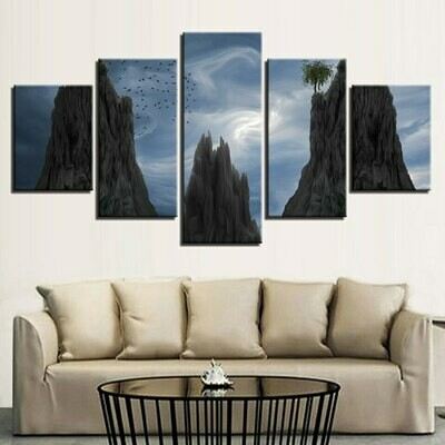 Blue Sky Mountain Birds - 5 Panel Canvas Print Wall Art Set