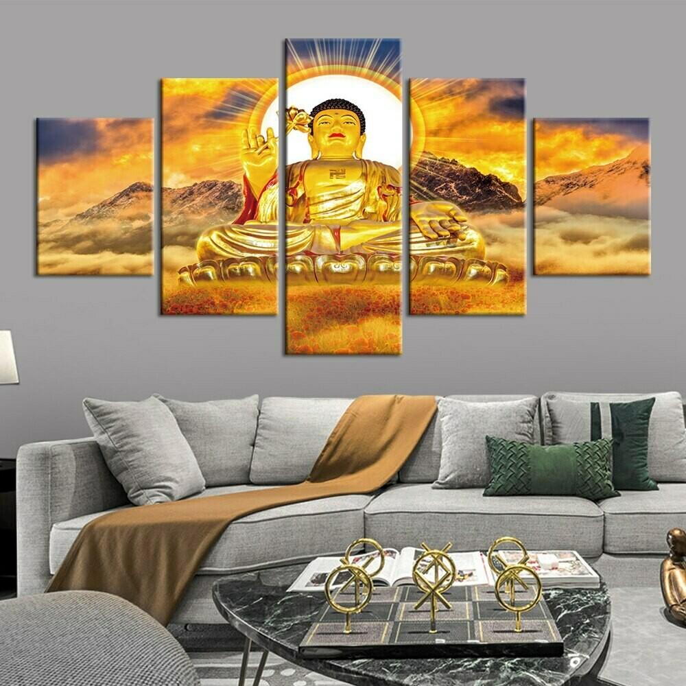 Buddha Statue Mountain - 5 Panel Canvas Print Wall Art Set
