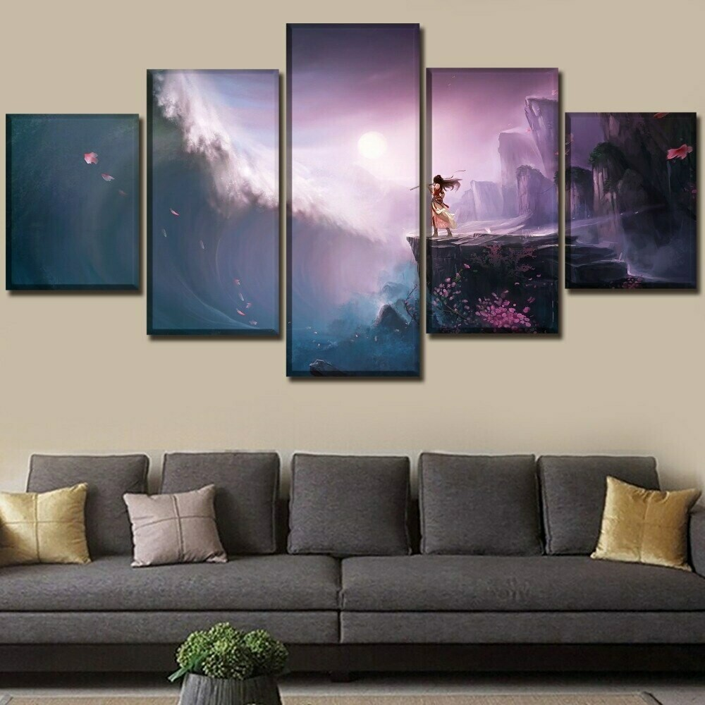 Between The Mountain And The Sea - 5 Panel Canvas Print Wall Art Set