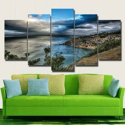 Blue Sea Mountains - 5 Panel Canvas Print Wall Art Set