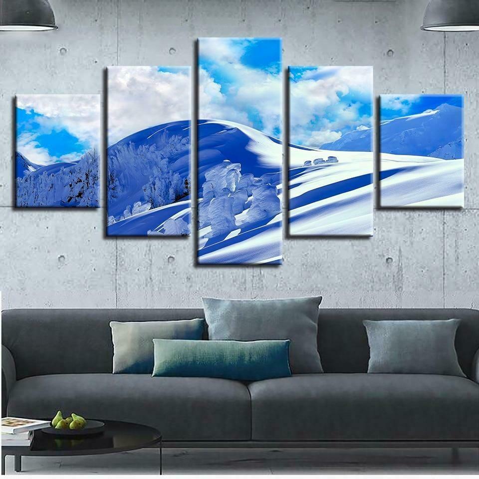 Blue Sky And Snow Mountain - 5 Panel Canvas Print Wall Art Set
