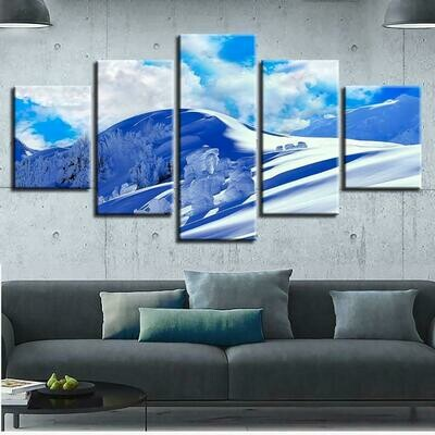 Blue Sky And Snow Mountain - 5 Panel Canvas Print Wall Art Set