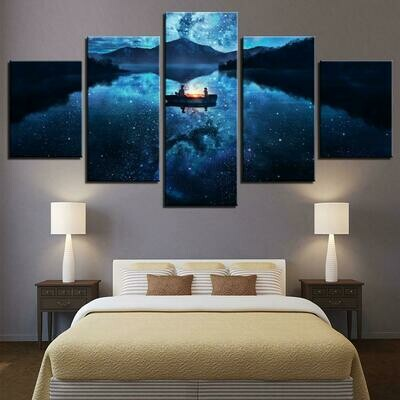 Cartoon Lake Boat Mountain - 5 Panel Canvas Print Wall Art Set
