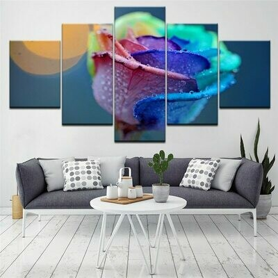Abstract Colorful Rose - 5 Panel Canvas Print Wall Art Set