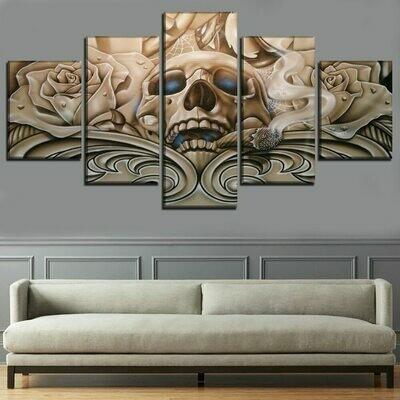 Artistic Roses And Skull - 5 Panel Canvas Print Wall Art Set