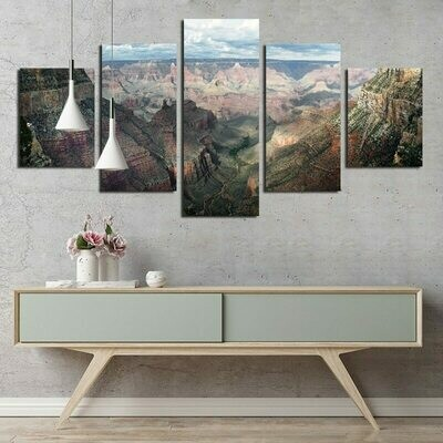 Chinese Style Mountain - 5 Panel Canvas Print Wall Art Set