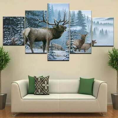 Bull Moose Crossing Stream Snow Mountain - 5 Panel Canvas Print Wall Art Set