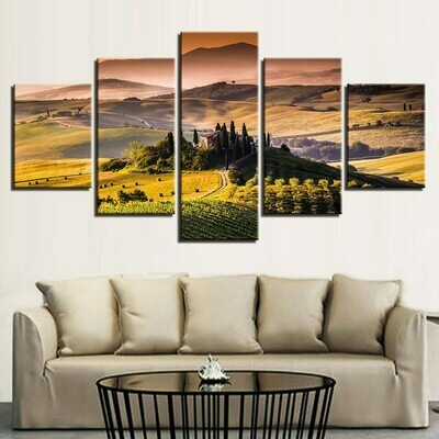Castle Pastoral Dusk Mountain - 5 Panel Canvas Print Wall Art Set