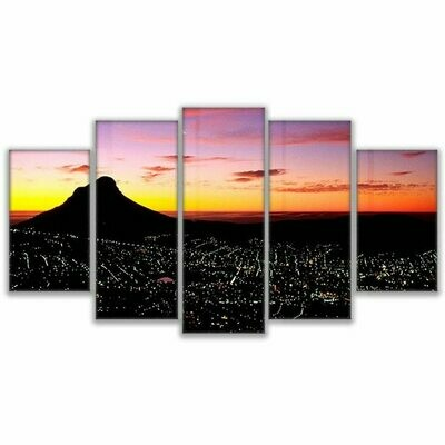 Cape Town Sunset Mountain - 5 Panel Canvas Print Wall Art Set