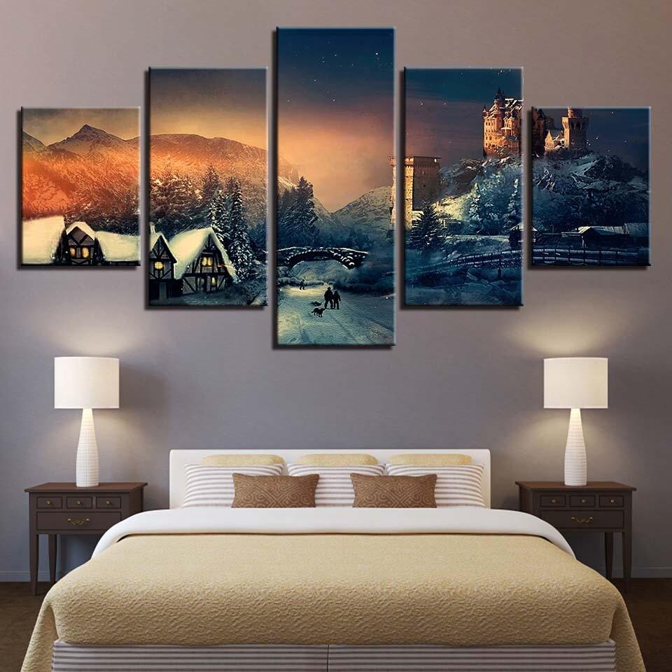 Castle House Mountain - 5 Panel Canvas Print Wall Art Set