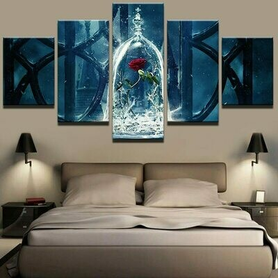 Beauty And The Beast Red Rose - 5 Panel Canvas Print Wall Art Set