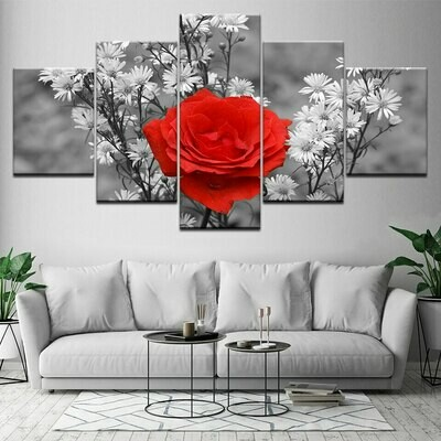 Beauty Red Rose - 5 Panel Canvas Print Wall Art Set