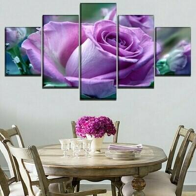 Blooming Pink Roses - 5 Panel Canvas Print Wall Art Set