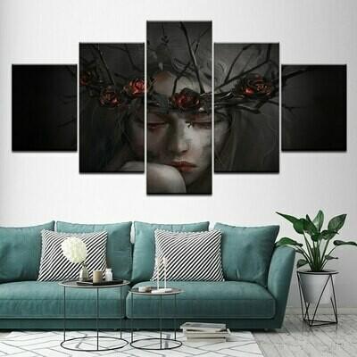 Black Rose Girl - 5 Panel Canvas Print Wall Art Set