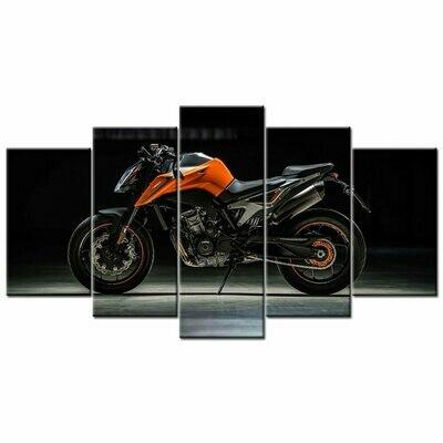 790 Duke Super Motorcycle - 5 Panel Canvas Print Wall Art Set