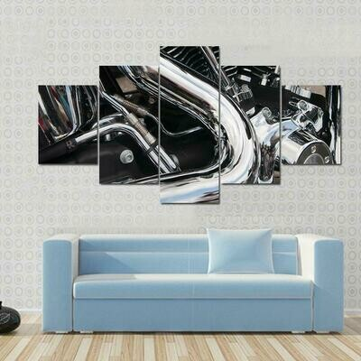 Big Shiny Motorcycle Engine - 5 Panel Canvas Print Wall Art Set