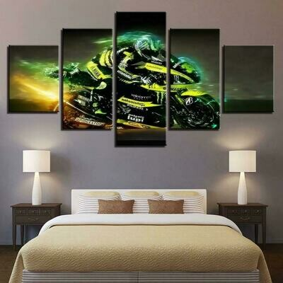 Cool Cross Country Motorcycle - 5 Panel Canvas Print Wall Art Set