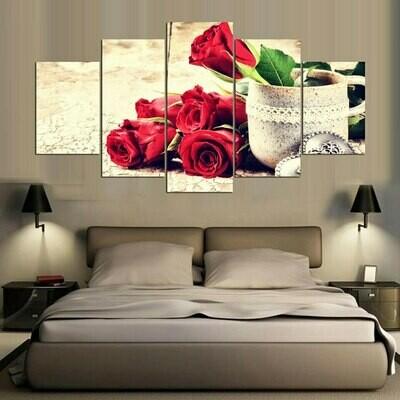 Cermet Cup Bright Rose - 5 Panel Canvas Print Wall Art Set