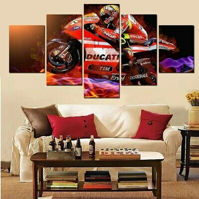 Cool Motorcycle - 5 Panel Canvas Print Wall Art Set