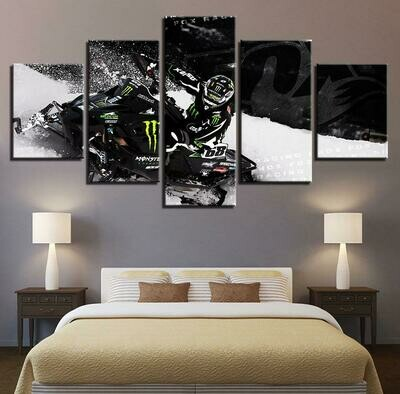 Cross Country Motorcycle Modular - 5 Panel Canvas Print Wall Art Set