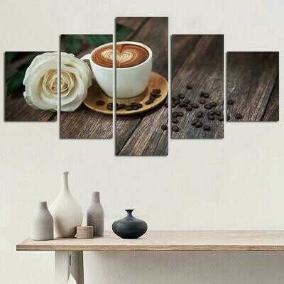 Coffee Cup And White Rose - 5 Panel Canvas Print Wall Art Set