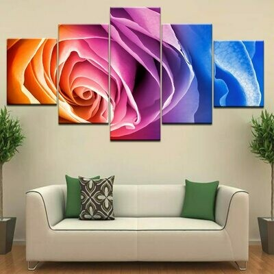 Colorful Rose Flower - 5 Panel Canvas Print Wall Art Set
