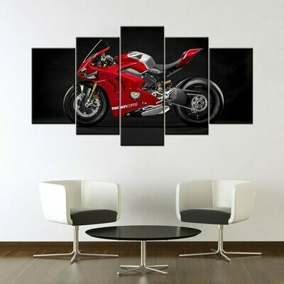 Ducati Panigale V4 R Race Motorcycle - 5 Panel Canvas Print Wall Art Set