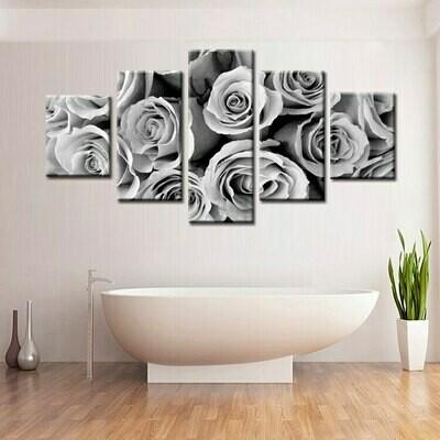 Black And White Rose - 5 Panel Canvas Print Wall Art Set