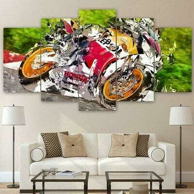 Abstract Motorcycle - 5 Panel Canvas Print Wall Art Set