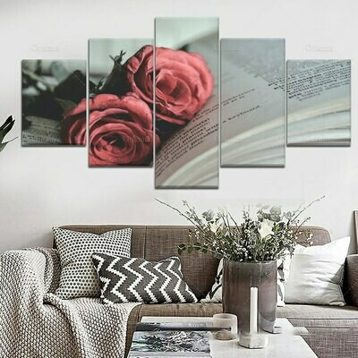 Book And Rose - 5 Panel Canvas Print Wall Art Set