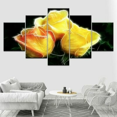 Bright Yellow Rose - 5 Panel Canvas Print Wall Art Set
