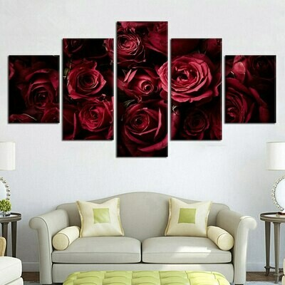 Bunch Of Red Rose - 5 Panel Canvas Print Wall Art Set