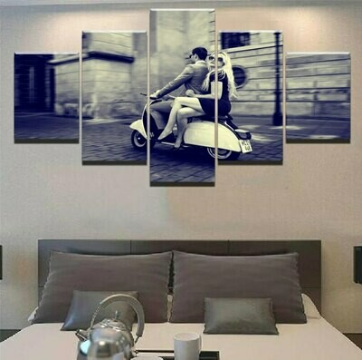 Couple Riding Motorcycle - 5 Panel Canvas Print Wall Art Set