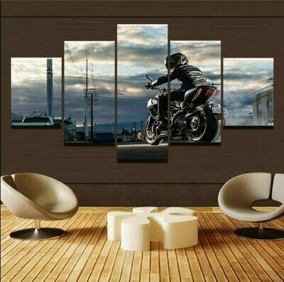 Drive Motorcycle In City - 5 Panel Canvas Print Wall Art Set