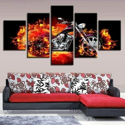 Fire Burn Motorcycle - 5 Panel Canvas Print Wall Art Set