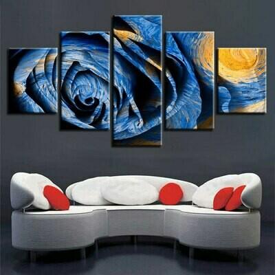 Blue Rose Abstract - 5 Panel Canvas Print Wall Art Set