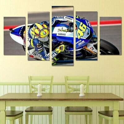 Blue Yamaha Motorcycle - 5 Panel Canvas Print Wall Art Set