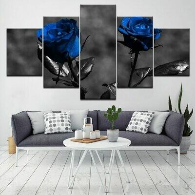 Blue Roses Flowers - 5 Panel Canvas Print Wall Art Set