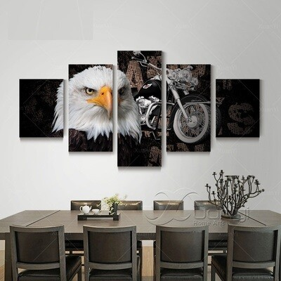 Eagle And Motorcycle - 5 Panel Canvas Print Wall Art Set