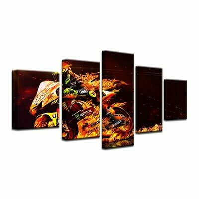 Fire Motorcycle Race - 5 Panel Canvas Print Wall Art Set