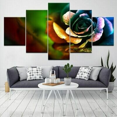 Colorful Rose Hd - 5 Panel Canvas Print Wall Art Set