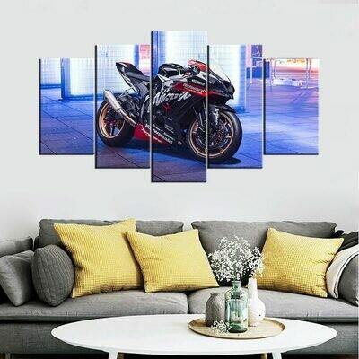 Kawasaki Ninja ZX 10R Motorcycle - 5 Panel Canvas Print Wall Art Set