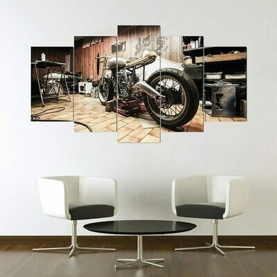 Modular Retro Motorcycle - 5 Panel Canvas Print Wall Art Set