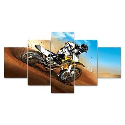 Motorcycle Abstract - 5 Panel Canvas Print Wall Art Set