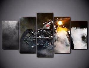 Black Cruiser Motorcycle - 5 Panel Canvas Print Wall Art Set