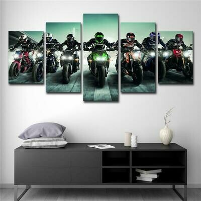 Colourful Heavy Motorcycle Racer - 5 Panel Canvas Print Wall Art Set