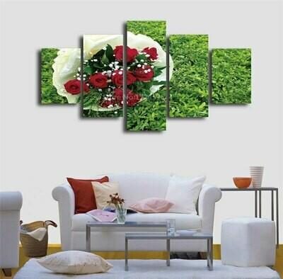 Bunch Roses On Grass - 5 Panel Canvas Print Wall Art Set
