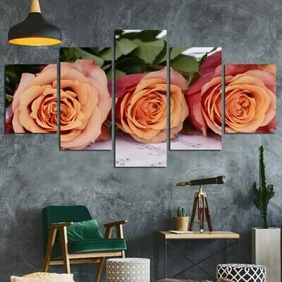 Champagne Roses - 5 Panel Canvas Print Wall Art Set