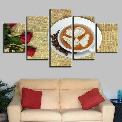 Coffee And Roses - 5 Panel Canvas Print Wall Art Set